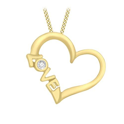 Carissima Gold Collana con Pendente da Donna in Oro Giallo 9K (375) con Diamante 0.02ct, 46 cm