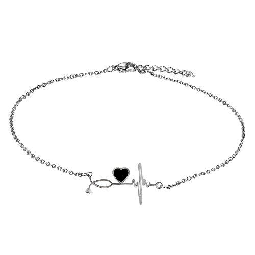Cupimatch Damesarmband met hartjes in de kleuren zilver, dubbele ketting, armband voor vrouwen en meisjes