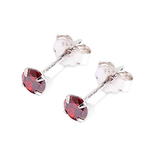[Puente] silver925 ピアス レッド シルバー925 両耳セット 20G シンプル CZダイヤ キュービックジルコニア スタッドピアス スタッド シルバーピアス 赤色 赤 シルバー メンズ レディース 小さい 小さめ 小ぶり 4mm