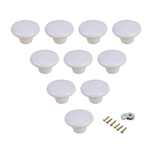 Tiradores redondos de cerámica para puerta de armario, para dormitorio, puerta, armario o armario, 10 unidades, blanco