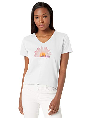 Life is good Women's V-neck Watercolor Daisy Graphic T-shirt,  Daisy,White,  XXX-Large