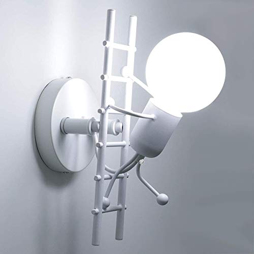 FengShang Lámpara de pared humanoide Lámpara de pared interior de metal creativa Lámpara de cama de dibujos animados Lámpara de pared LED E27 para sala de estar de niños (Creep, Blanco)