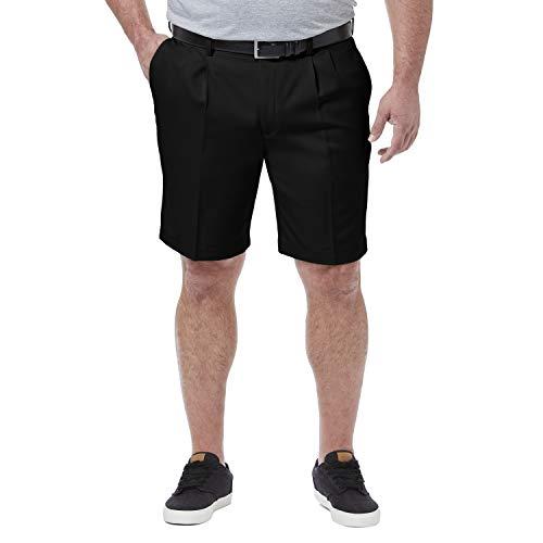 Haggar Men's Big & Tall Cool 18 Pro Pleat Front Short, Black, 46