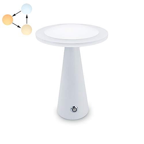 DA LIGHT LED Tischleuchte, 6W Nachttischlampe Touch Dimmbar, LED Tischlampe für Schlafzimmer mit Berührungssensor, USB Schreibtischlampe mit aufladbarem Akku, 3 Farbton Warmweiß Neutralweiß Kaltweiß