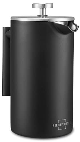 SILBERTHAL Cafetera émbolo acero inoxidable 1 litro | Mantiene el café Caliente | Cafetera francesa | Cafetera de piston | French press Negra