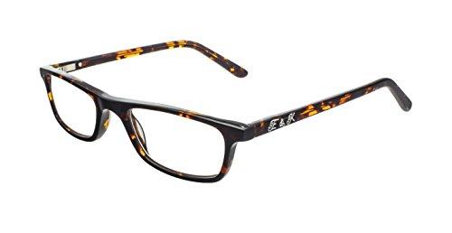 Edison & King Lesebrille – schmale Acetat Kunststoffbrille mit Entspiegelung und Härtung Stärken (Havana, 1,50 dpt)