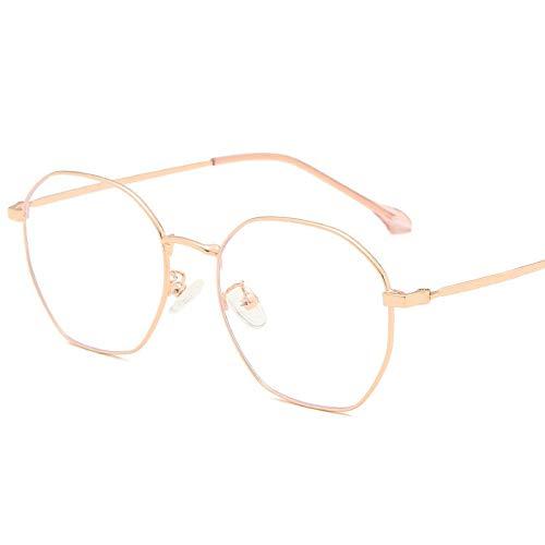 GAFAGAFA anti-blauwe bril retro polygonen bril frame mannen en vrouwen spiegel frame eenvoudige platte licht microscoop