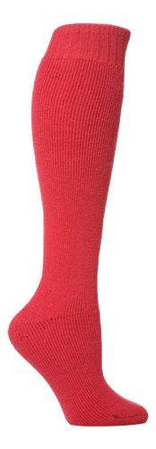 David James 1 Paar Damen Wolle reich Waden Gummistiefel Socken, Größe 37-40 (Rot)