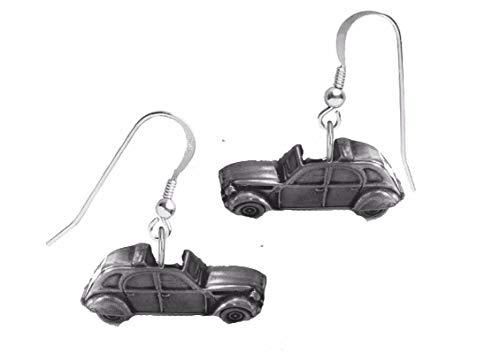 Klassische französische Auto-Ohrringe mit Zinn-Effekt, 2CV, ref37, auf Haken, 925er Sterlingsilber, gestempelt
