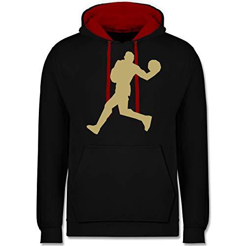 Shirtracer Basketball - Basketballer Gold - M - Schwarz/Rot - Basketball Gold Hoodies - JH003 - Hoodie zweifarbig und Kapuzenpullover für Herren und Damen