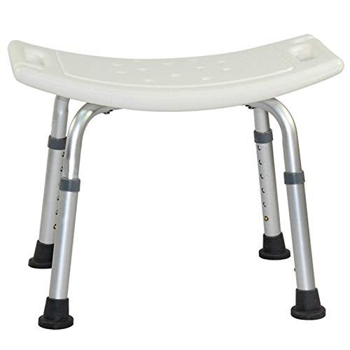 QFWM Taburete de baño y ducha, impermeable, antideslizante, de aleación de aluminio, asiento curvado, altura ajustable, asiento ligero