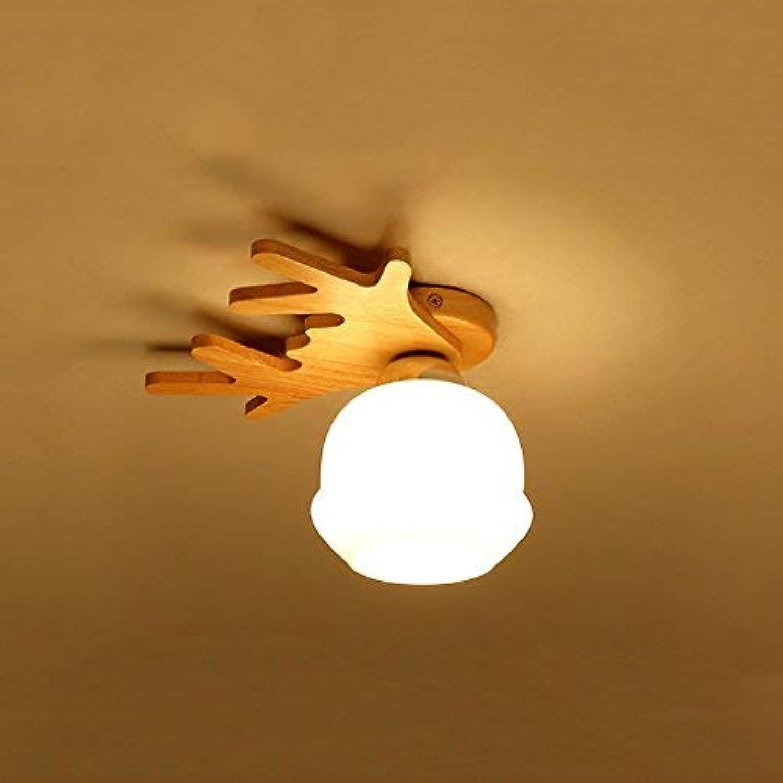 ZHAS Holzdeckenlampen Komfortables Schlafzimmer Massivholzganglampen (Gre  S 26  18cm)