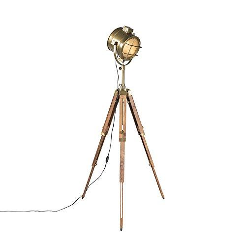 QAZQA Design/Industrie/Industrial/Modern Stehleuchte/Stehlampe/Standleuchte/Lampe/Leuchte Tripod/Dreifuß Lampe/Dreifuss Naturholz mit Gold/Messing/Innenbeleuchtung/Schlafzimmer G
