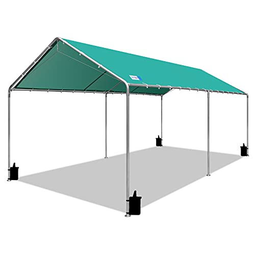 VOYSIGN Outdoor Heavy Duty Carport 10 X 20 Ft, Car Canopy with Three Reinforced Steel Cables (Green)