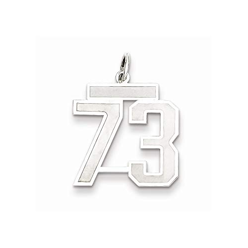 18mm 925 Sterling Silver Medium Satin Pendant Necklace Sport game Number 73 Jewelry Gifts for Women