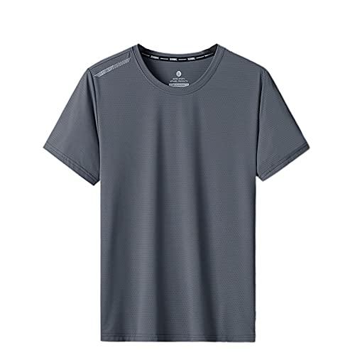 Top De Manga Corta del Deporte De La Camiseta del Baloncesto De Las Camisetas Sin Mangas del Entrenamiento De Los Hombres con La Raya Reflectante Gris Oscuro XL