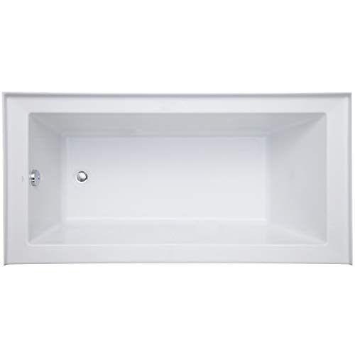 "Mirabelle MIRSKS6030LWH 60"" X 30"" Acrylic Soaking Bathtub for Three Wall Alcove Installations with Left Drain"