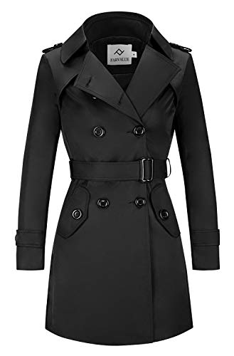 FARVALUE Women's Double Breasted Trench Coat Water Resistant Classic Belted Lapel Overcoat Black Small