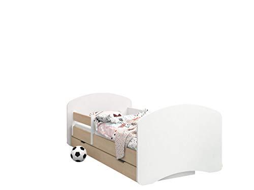 Happy Babies - CAMA PARA NIÑOS DE DOBLE CARA CON CAJÓN Diseño moderno con bordes seguros y protección contra caídas Colchón de espuma 7 cm Pera clara (Sin motivo, 180/90)