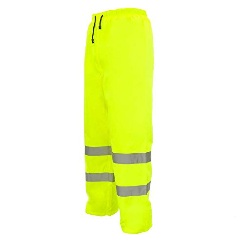PrimeMatik - Werkbroek met geel reflecterend voor werkveiligheid maat M