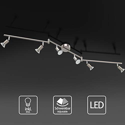 Uchrolls Foco LED para techo I 6 vías lamparas de techo led I Luz de techo I Orientable y giratoria Lámpara de salón giratoria (incluye 6 x 5 W bombillas LED GU10)