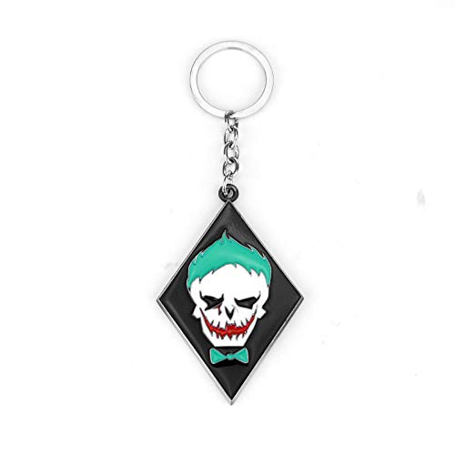 ZYLL Dongsheng Suicide Squad Key Chains Anti-Superhero Character Power Mission Alloy Key Chain Joker Face Square Model Key Ring -50