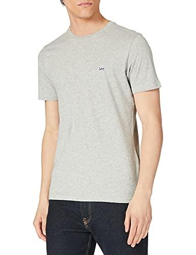 Lee Patch Logo tee Camiseta, Grey Mele, XL para Hombre