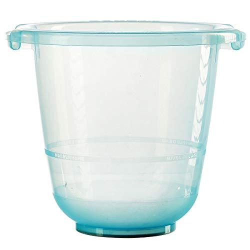 Tummy Tub Badeeimer/Babybadewanne für Früh- Neugeborene und größere Babys/Badewanne Kunststoff transparent/kippsicher und rutschsicher/ab Geburt bis 36 Monate, Design:blau