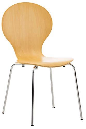 CLP Stapelstuhl Diego l Ergonomisch geformter Konferenzstuhl mit Holzsitz und Metallgestell I Stapelbarer Stuhl mit pflegeleichter Sitzfläche, Farbe:Natura