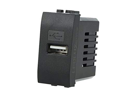LEDLUX LL311B Caricatore USB 5V 2,1A Compatibile Con Placca Bticino Living Light Da Parete Per Scatola 503 504 505 Fast Charge (Nero)