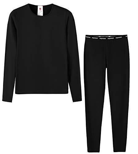 LAPASA Girl Set Intimo Termico per Bambine - Ti Tiene al Caldo Senza Stress- T-Shirt Maniche Lunghe & Pantaloni Invernali G03 (Nero(Versione 19), S(An