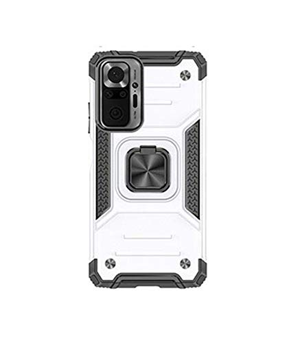 Xiaomi Redmi Note 10 Pro用 ケース/カバー スタンド機能リング付き 2重構造 耐衝撃 TPU シンプル タフで頑丈 シャオミ 小米 リドミーノート10 プロ ハードケース/カバー おしゃれ 一体型スマホリング付き スマフォ スマホ スマートフォンケース/カバー(シルバー)