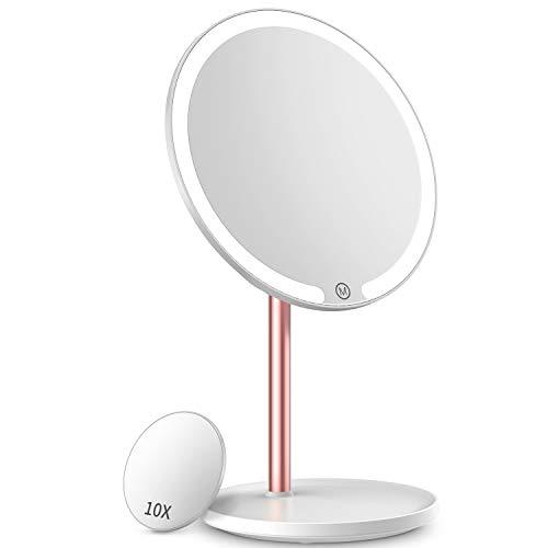 Kostlich Espejo de maquillaje iluminado, espejo de mesa recargable LED espejo de tocador con aumento de 10x, espejo cosmético 3 luces de color brillo ajustable, sensor táctil