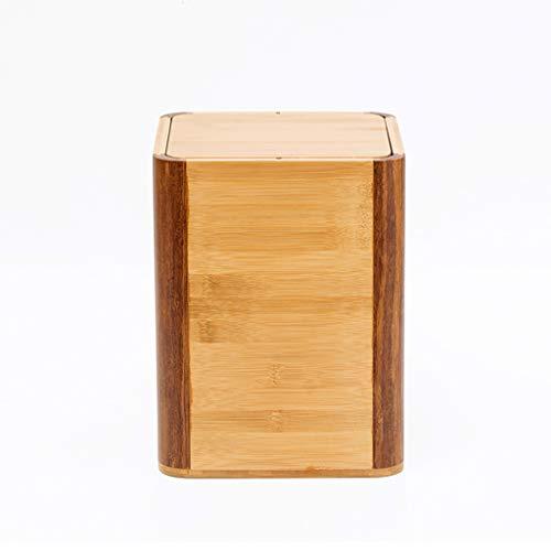 Kffc Cubo de la Basura  cesto de Basura Hogar Creativo de bambú de Madera Papelera Papelera Canasta de almacenaje Papel de Oficina de Hotel Cubo de la Basura  cesto de Basura (Color : A)