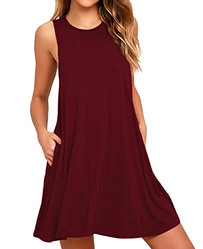 BISHUIGE Women's Work Casual Dresses Juniors Sundresses L, Wine Red