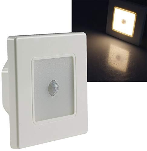 ChiliTec LED Wand Einbauleuchte mit Bewegungsmelder 120° I Unterputz Montage Ø 60-68mm I 2,5 Watt I 86x86x33mm I Rahmen Weiß Lichtfarbe Warmweiß