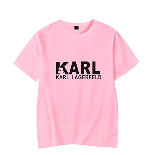 T-Shirt Mode Karl Lagerfeld Drucken Kurze Ärmel T-Stück Beiläufig Lose Trikot Unisex/Rosa/S