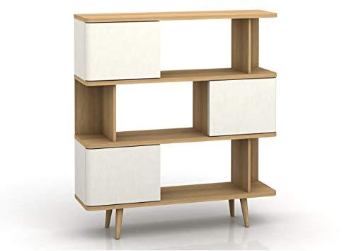 Loft24 Großes Regal mit Türen Bücherregal weiß Standregal Wohnzimmer Skandinavisches Design Holzbeine 120 x 33 x 130 cm