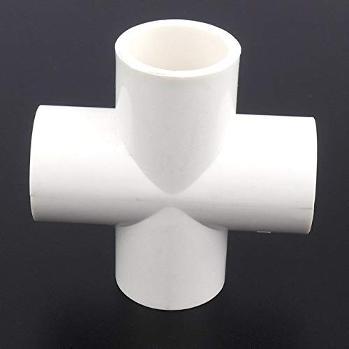 Kammas 2pcs/lot 25mm PVC Cross Connector Aquarium Tank Water Supply Fittings Irrigation System Garden Water Connectors Pipe Adapter - (Diameter: Inner Dia 25mm, Color: White Cross Joint)
