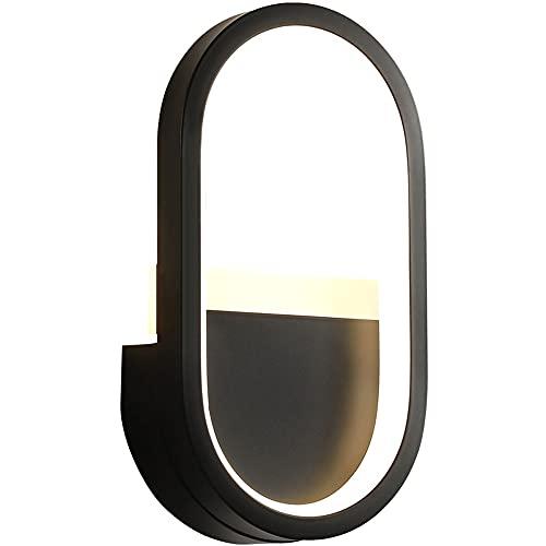 ZNLHJ Lámpara de Pared LED Moderna y Simple, diseño Creativo Ovalado de Apariencia Simple, Blanco y Negro para Elegir, Accesorio de iluminación Interior, Pared, Dispositivo de decoración de Pasillo