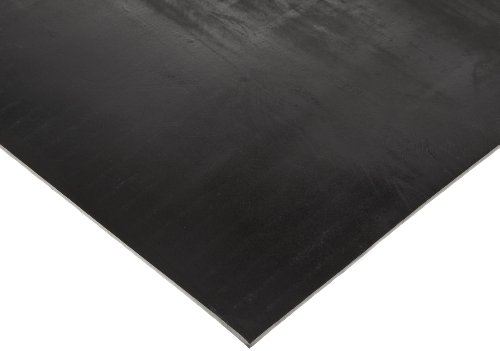 "Butyl Sheet, 60A Durometer, Smooth Finish, No Backing, Black, 1/8"" Thickness, 12"" Width, 24"" Length"