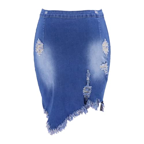 N\P Falda midi de mezclilla con agujero asimétrico con borla Streetwear cintura alta lavado