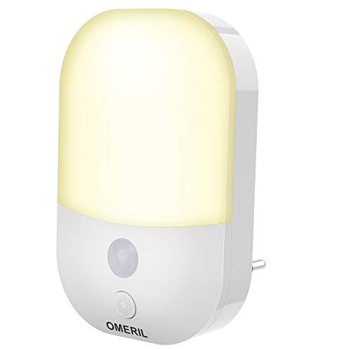 Nachtlicht Steckdose mit Dämmerungssensor, OMERIL LED Nachtlicht Kinder 3 Modi(Auto/ON/OFF), Nachtlicht mit Helligkeit Stufenlos Einstellbar, für Kinderzimmern,Schlafzimmern,Treppen,Küchen, Warmweiß