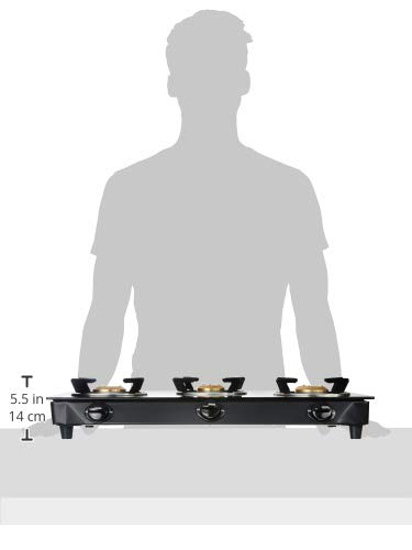 Amazon Brand - Solimo 3 Burner Glass Top Gas Stove with Manual Ignition (ISI Certified), Black