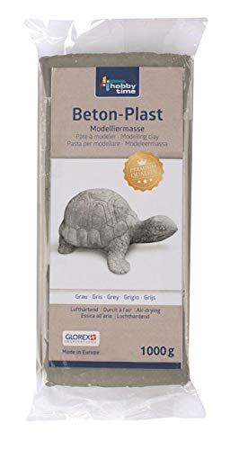 Glorex 6 1780 731 - Beton-Plast, 1000 g in betongrau, lufthärtende Modelliermasse mit Beton-Optik, gebrauchsfertig mit einfacher Handhabung