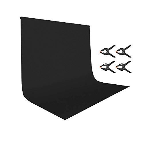 UTEBIT Hintergrund Fotografie fur Fotostudio Hintergrund Staender Fotoleinwand Schwarz 3x2m mit 4 Hintergrundclips 100% Polyester Schwarzer Hintergrund Fotografie für Video und Fernsehen Fotostudio