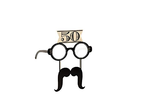 Givi Italia Gafas con bigote de papel para fiesta de 50 años, 4 unidades