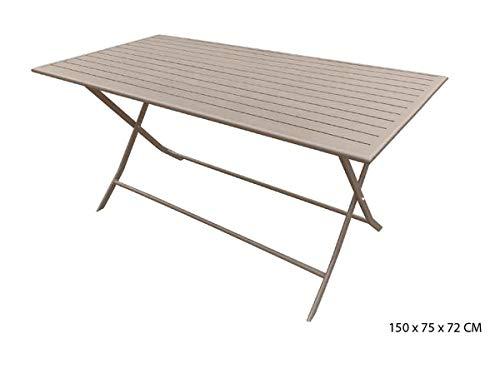 PEGANE Table rectangulaire Pliante Coloris Sable en Aluminium - 150 x 75 x 72 cm
