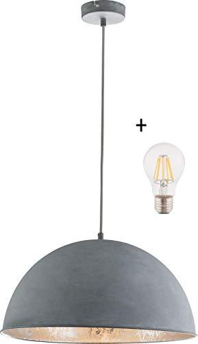 Hängelampe Vintage Esszimmer mit LED Lampe - 41 cm Hängeleuchte Industrial - Betonoptik - Industrie Pendellampe - Küchenlampe - Pendelleuchte - Höhenverstellbar max 120 cm - Fassung E27-7 Watt