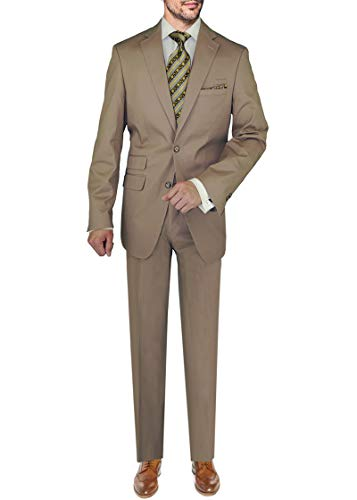 DTI BB Signature Italian Men's Two Button 2 Piece Suit covid 19 (Taupe Suit Separates coronavirus)